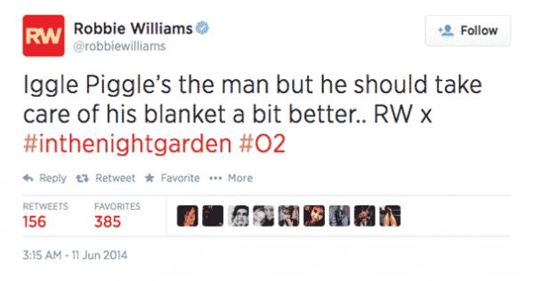 robbie williams tweet 605